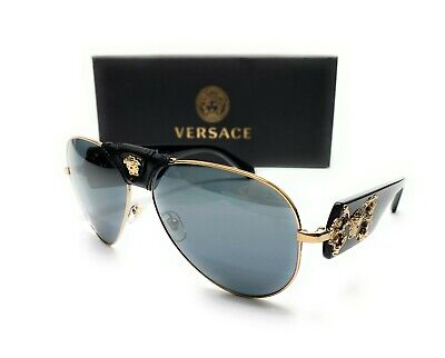 Versace VE2150Q 12526G Pale Black Mirror Grey Black Lens Men Sunglasses 62mm