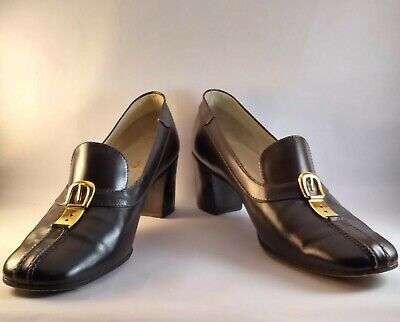 Vintage MONUMENTAL Gucci Vitello Maroon Brown Leather Stack Heels Buckle 41 B 11