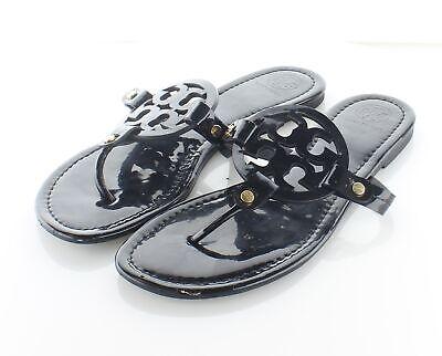 24-13 $198 Women's Sz 9 M Tory Burch Miller Patent Leather Flip Flop Sandals