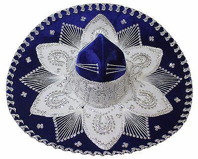 Adult Mexican Mariachi Hat Sombrero Charro Cinco de Mayo Royal Blue Silver (Cinco De Mayo Hat)