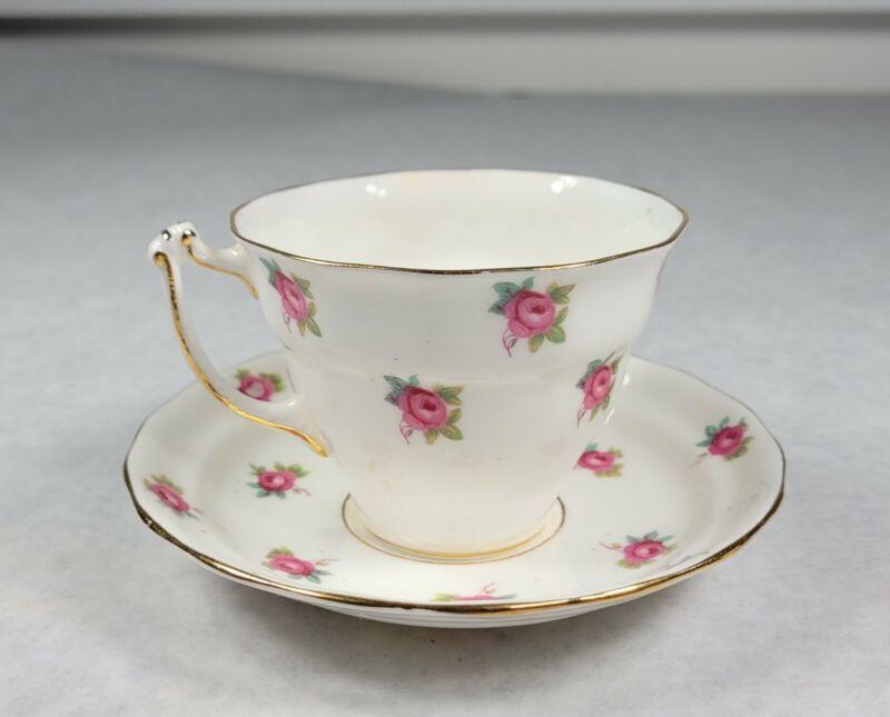 Sampson Smith Old Royal Bone China White  Pink Rose Buds Tea Cup Saucer NICE