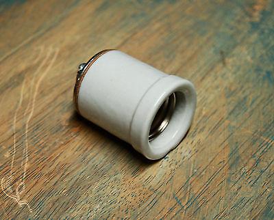 Porcelain Lampholder - Large Lipped Porcelain Light Socket - Vintage Lamp Holder w Shoulder Industrial
