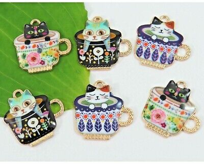 6 Teacup Kitty Cat Charms, Colorful Gold Plated Enamel Mixed Charm Set, CUTE!