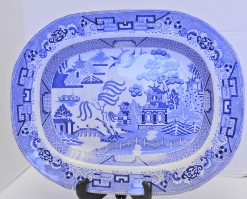 """Large Antique 17"""" Staffordshire Blue Willow Platter"""