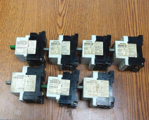 7 PC Assorted Siemens Motor Starter / Circuit Breaker: 3VE1000, 3VE1010 Germany