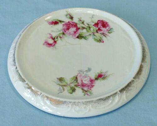 Antique Porcelain Teapot Trivet Roses Embossed Edge