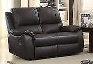 SAVE $1200 -- Genuine Leather Reclining Love Seat in Brown Regular Retail $1599 NOW $399