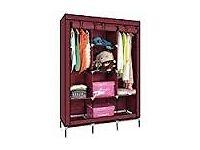 Brand new ready assembled red canvas wardrobe 173cm x 43cm x 122cm
