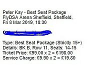 Peter Kay VIP best seat tickets x 2 Block B Row 11 ! Friday 8th March 2019, Sheffield arena