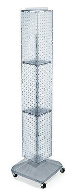 Clear 4-sided Pegboard Display On Revolving Wheeled Base 8w X 60h Inches