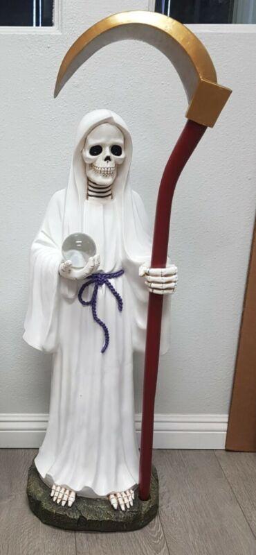 "Santa Muerte 40"" Inch Statue Holy Death Grim Reaper Skull Skeleton (White color)"