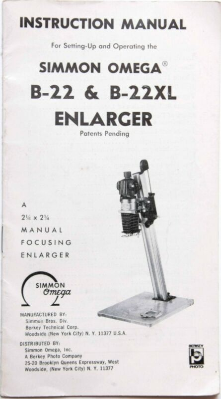 Omega B-22 B-22XL Enlarger Instruction Owners' Set-Up Manual Guide Book