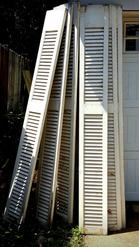 6 Antique Vtg Louvred Shutters Architectural Salvage Garden House Chippy Paint