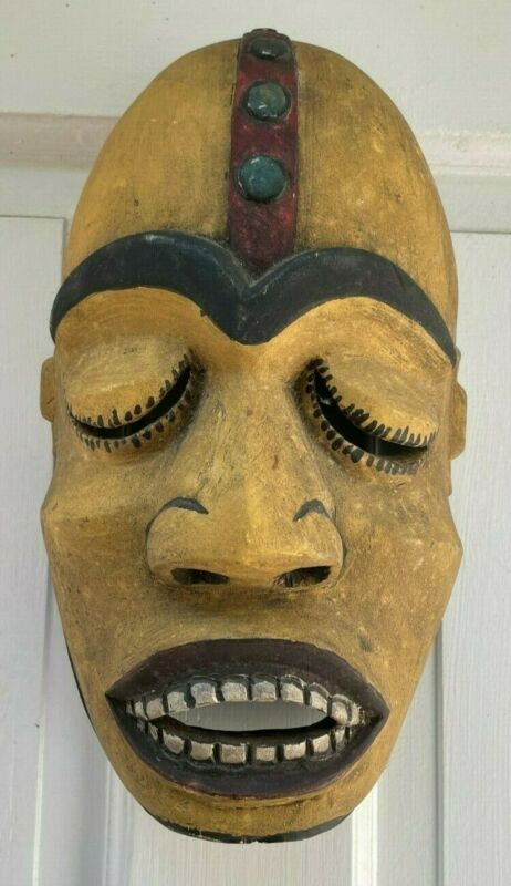 Antique Hand Carved Painted Large Wooden Tribal Mask Eye & Mouth Opening Vintage