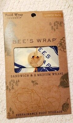 Bee's Wrap - Food Wraps, Reusable Lunch Pack (Sandwich & 2 -