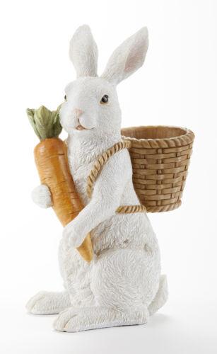 "New Spring Easter WHITE BUNNY RABBIT CARROT BASKET FIGURINE Statue Figure 10"""