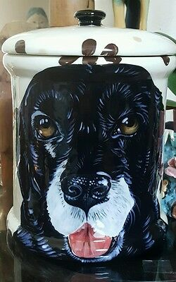 Custom Ceramic DOG TREAT Cookie Jar paw prints black lab urn any BREED large
