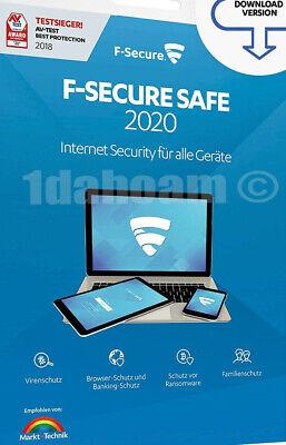 F-Secure SAFE 2020 1 Gerät ca. 1 Jahr Laufzeit in 19 Sprachen Internet Security online kaufen