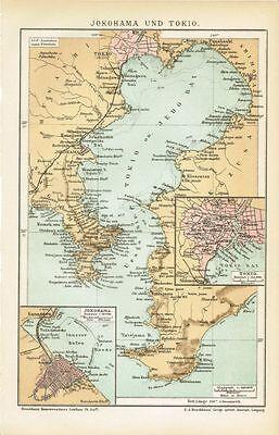 Karte TOKIO und YOKOHAMA 1894 Original-Graphik