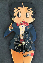 Betty Boop Wood Wall Clock Large 26 RARE COLLECTIBLE GREAT CONDITION WORKS