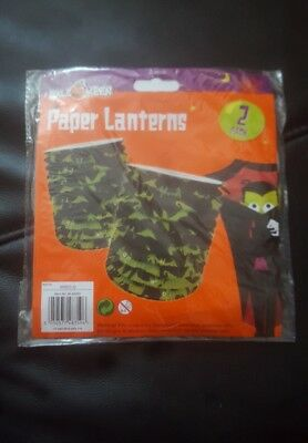 Halloween Paper Lanterns Scary Bats 2pk Hanging Decorations Green free uk p&p  - Halloween Decorations Scary Uk