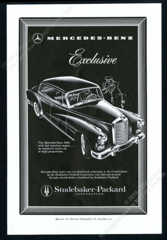 1958 Mercedes Benz 300 d 300d sedan elegant woodcut art vintage print ad 2
