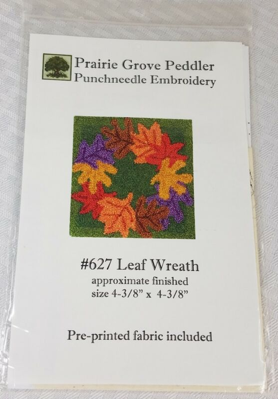 Prairie Grove Peddler- Punchneedle Embroidery #627 LEAF WREATH- FABRIC INCLUDED