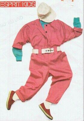 1985 Esprit Kids 7 Oversize Jumpsuit Sewing Pattern Astronaut Halloween - Esprit Halloween Costumes