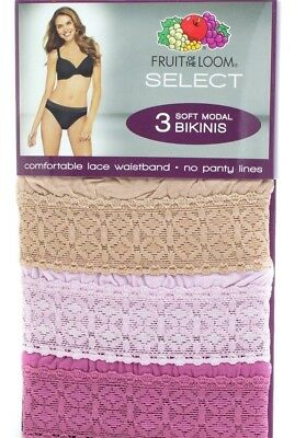 Fruit of the Loom Women's lace waistband Soft Modal Bikinis panties briefs ()