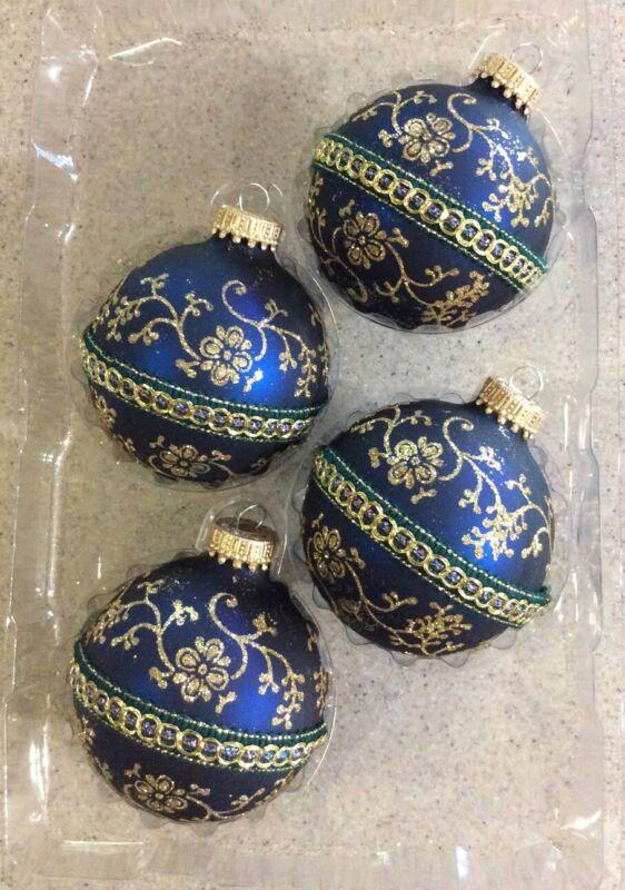 GORGEOUS NIB SET 4 KREBBS BLUE/GOLD GLITTER ROUND GLASS CHRISTMAS TREE ORNAMENTS