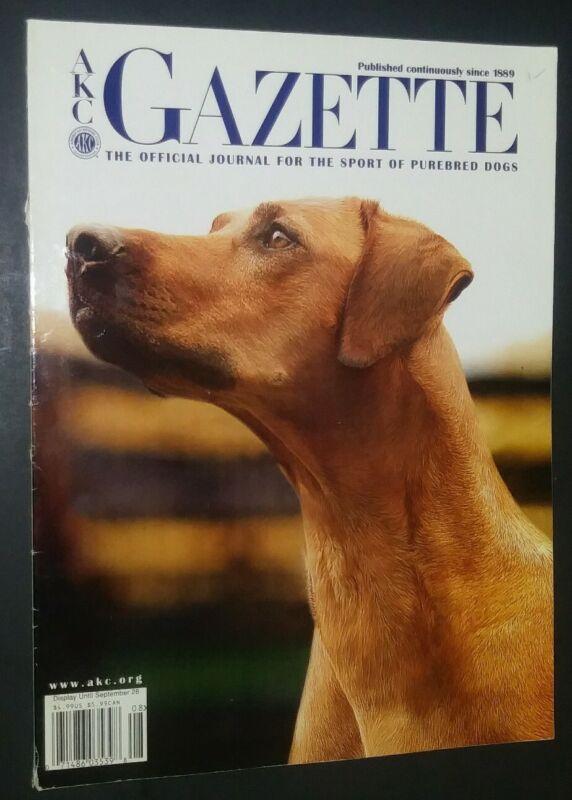 AKC Gazette Magazine Rhodesian Ridgeback Cover + Articles Aug. 2005