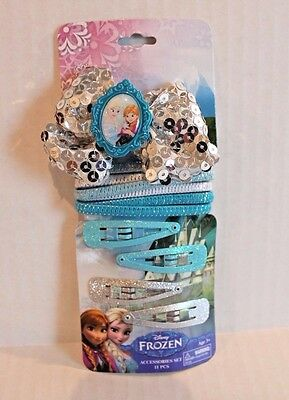 Disney Frozen Hair Accessories Set Silver Sequin Bow , Hair Ties , Barrettes NEW, usado comprar usado  Enviando para Brazil
