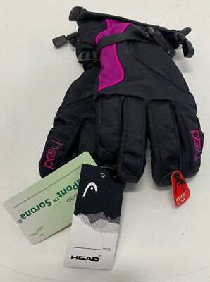 Head Jr Ski Gloves Black/Purple/Pink New With Tags Size: M Ages 6-10p Pink Ski Gloves
