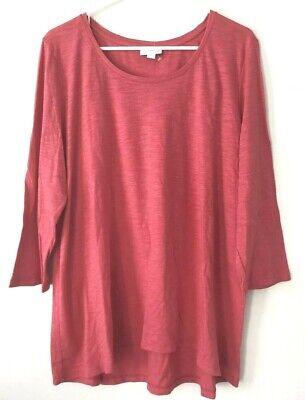 NEW J. JILL XL Top Scoop neck Tee Shirred-back Shirt 3/4 Slv Pima Cotton Pink