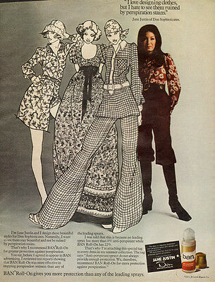 1971 AD BAN Roll on Deodorant  JANE JUSTIN Designer Hippy Fashion 60s Art 040315