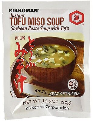 Kikkoman Instant Tofu Miso Soup (Soybean Paste Soup with Tofu) 1 Bag (3 Packets)