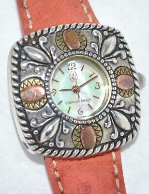 Carolyn Pollack Sterling Watch Cornflower Dial Coral Suede Band Sterling Buckle