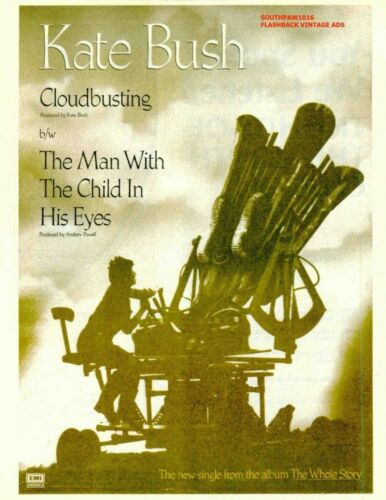 "1985 Kate Bush  ""Cloudbusting""  Song Release Reproduction Print Ad"