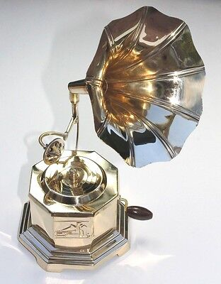 """9"""" GRAMOPHONE PHONOGRAPH ~ MINI ~ TOY~ SOLID BRASS .USA SELLER!!"""