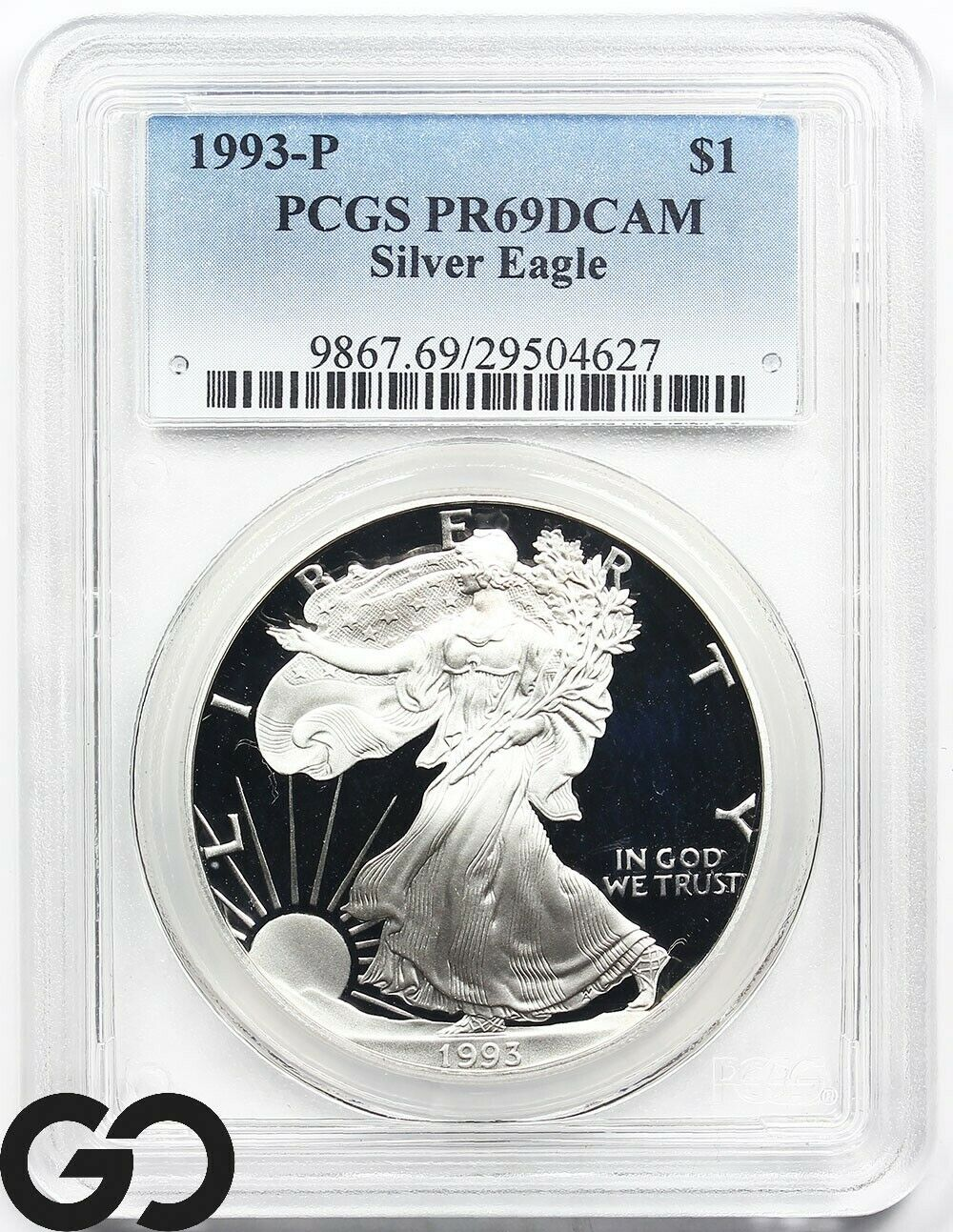1993-P $1 American Silver Eagle 1 oz Dollar Proof PCGS PR69DCAM