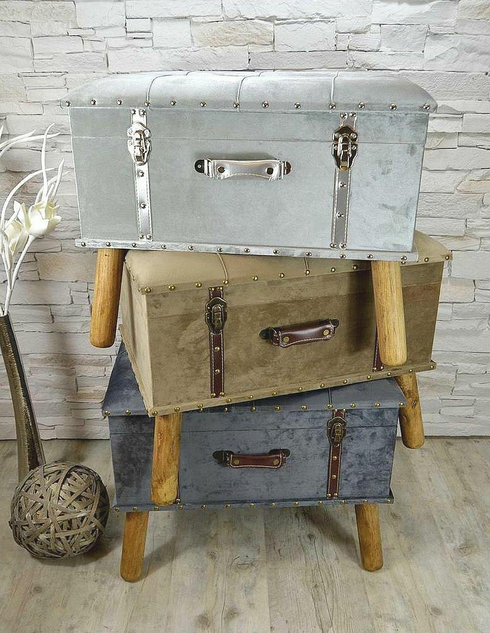 Hocker Polsterhocker Suitcase Pouf Truhe Staufach Truhenbank Sitzbank Ottomane