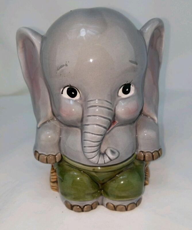 "Elephant Small Piggy Bank Gray Elephant wearing green w/Plug Ceramic Taiwan 6"""