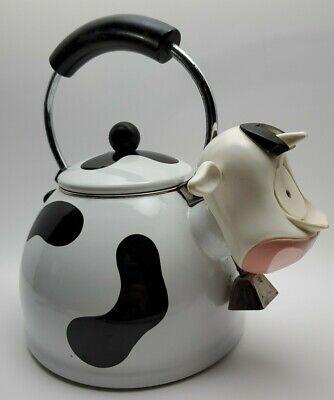 Vintage Whistling Cow Tea Kettle M.Kamenstein Enameled Steel--KAMENSTEIN