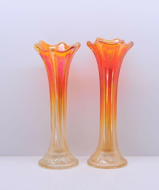 Nice Pair of Vintage Marigold Bud Vases Carnival Glass