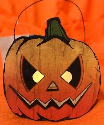 Bethany Lowe Haunted Jack-O-Lantern Tin Bucket—Retired—votive light included