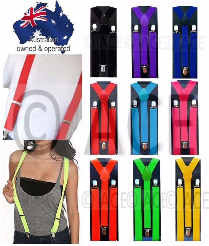 Mens Suspenders Womens Braces Elastic Adjustable Dance Formal Long 100cm Strong