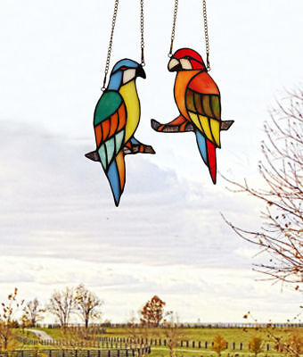 Makenier Tiffany Style Stained Glass Red Blue Parrot Window Hanging Sun Catcher
