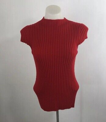 Antonio Melani Womens XS Ruth Cashmere Ribbed Cap Sleeve Sweater Candy Apple Red