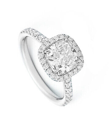 1.50 Ct. Cushion Cut Diamond Halo Engagement Ring w/ Band F ,IF GIA 14K New 2