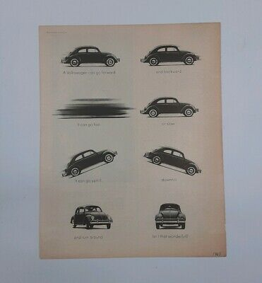 Vintage 1963 Volkswagen AD Poster VW Beatle in Action Black and White 2 Sided Ad